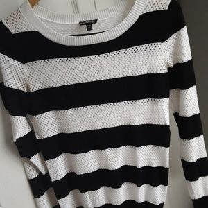 Express striped fishnet sweater